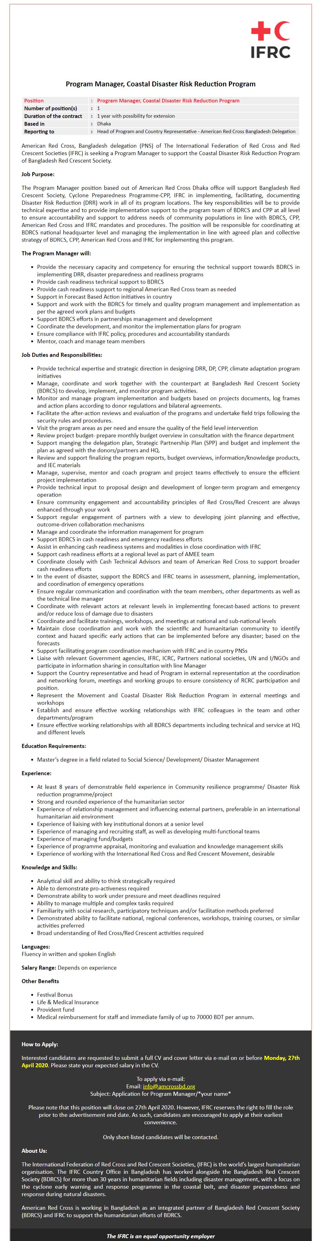 American Red Cross Bangladesh Delegation Jobs Circular 2020