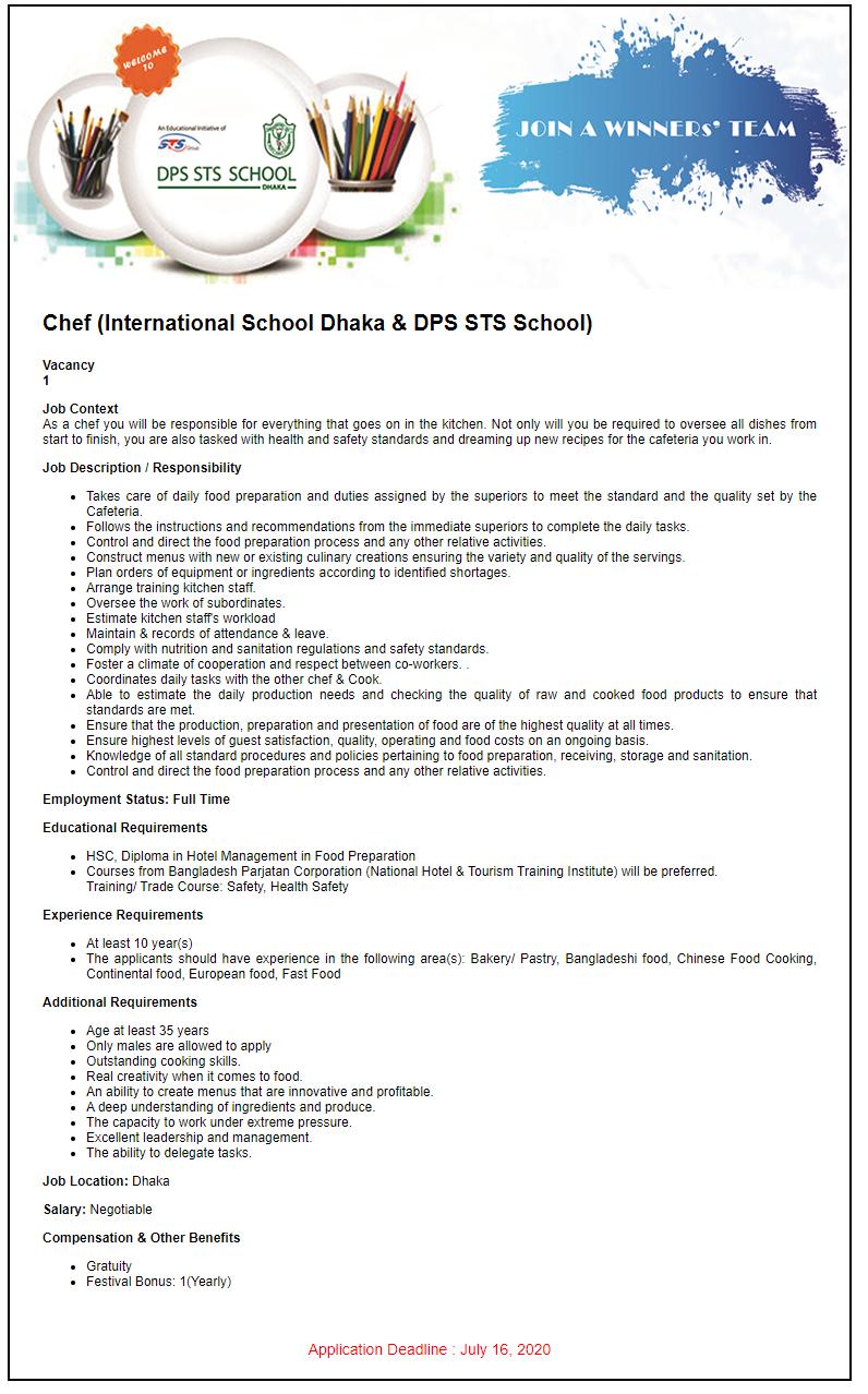 DPS STS School Job Circular 2020