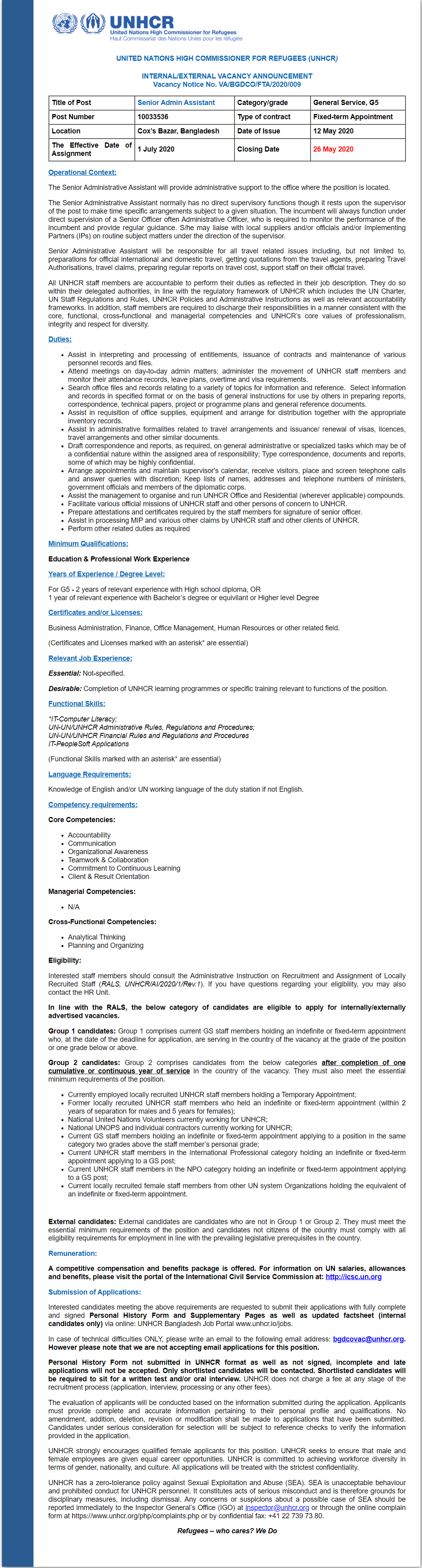 United Nations High Commissioner for Refugees Job Circular 2020