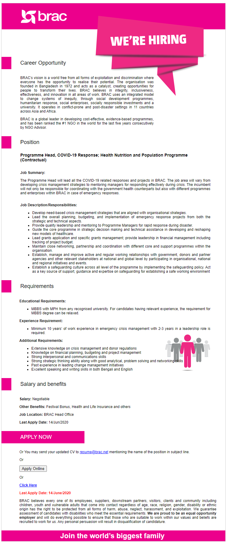 BRAC NGO Job Circular 2020