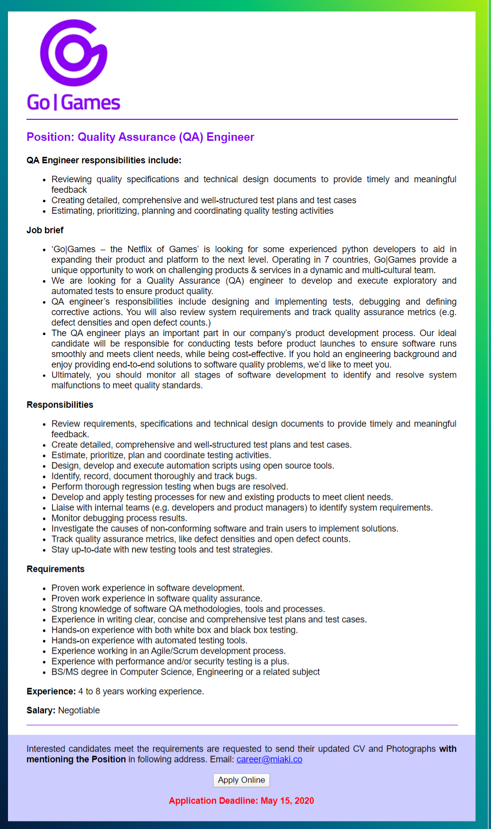 GoGames Bangladesh Ltd Jobs Circular 2020