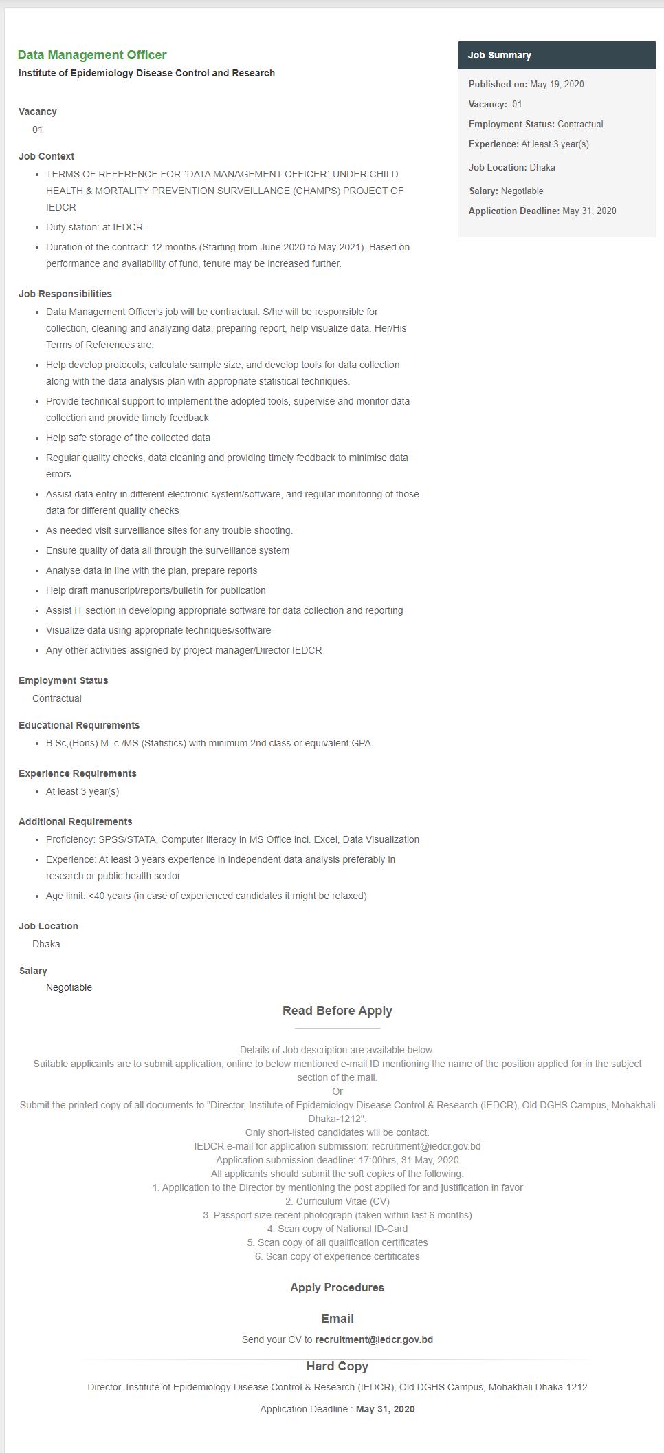 IEDCR Job Circular 2020