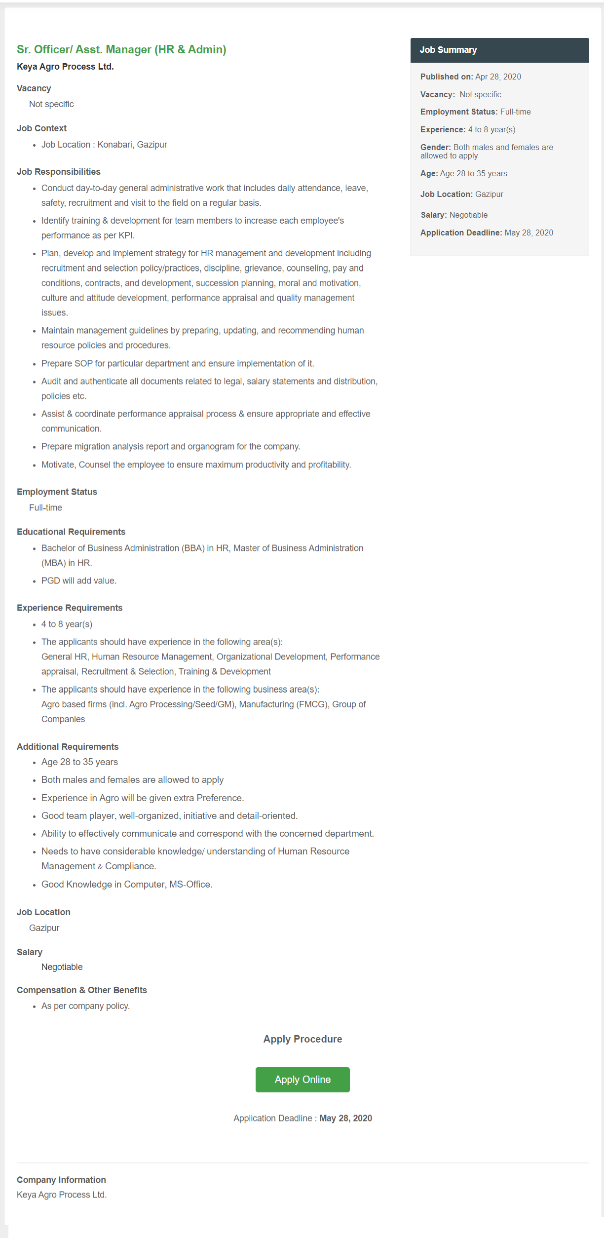 Keya Agro Process Ltd Job Circular 2020