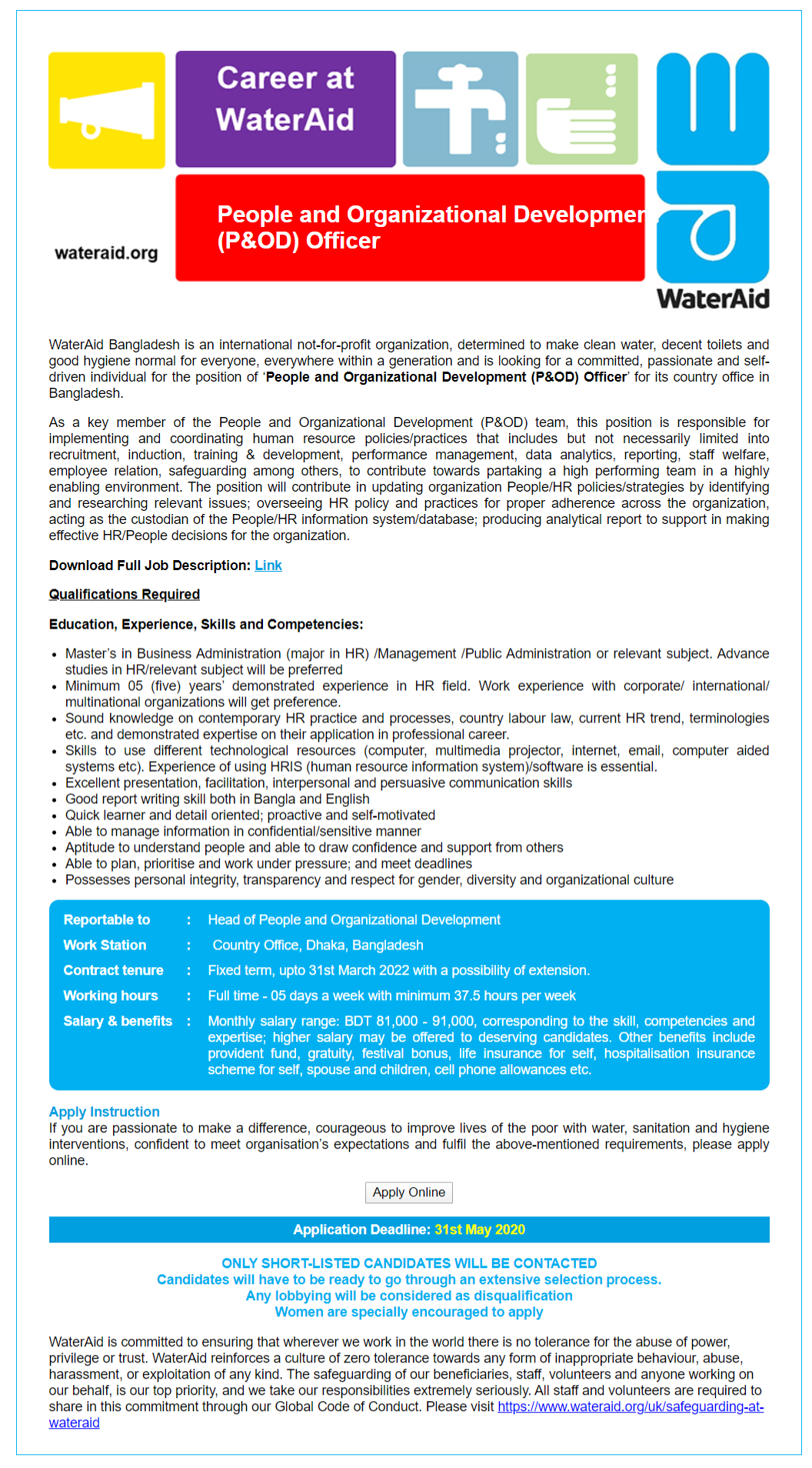 WaterAid Bangladesh Job Circular 2020