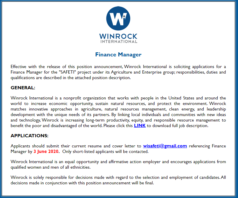 Winrock International Job Circular 2020