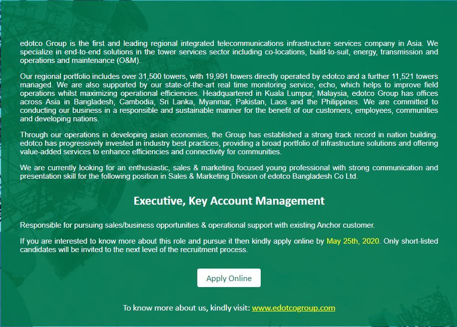 edotco Bangladesh Co. Ltd Job Circular 2020