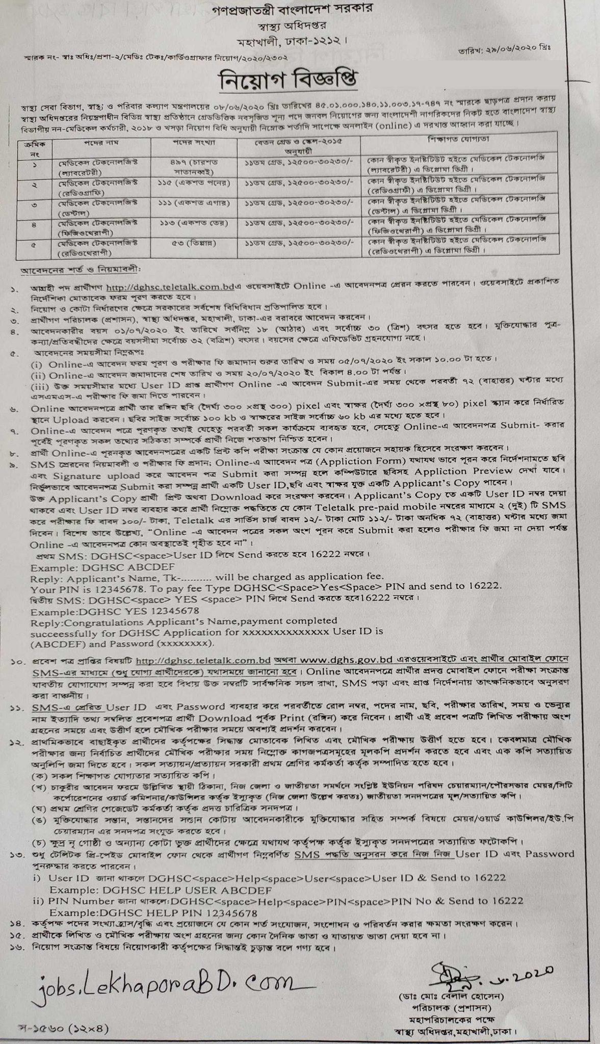 Directorate General Of Health Services (DGHS) Job Circular 2020