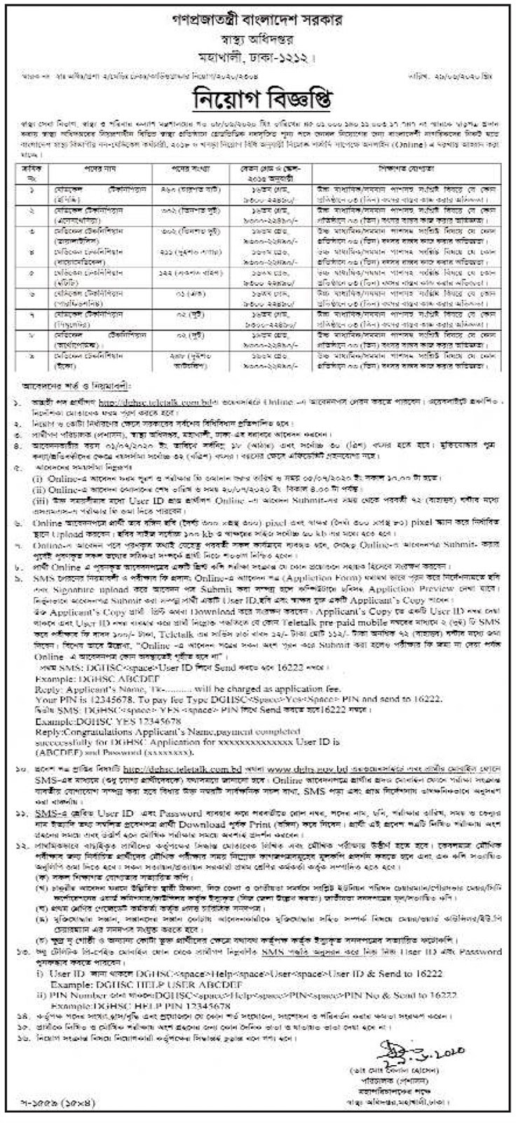 Directorate General Of Health Services (DGHS) Job Circular 2020