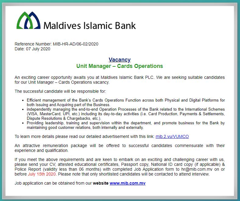 Maldives Islamic Bank Job Circular 2020
