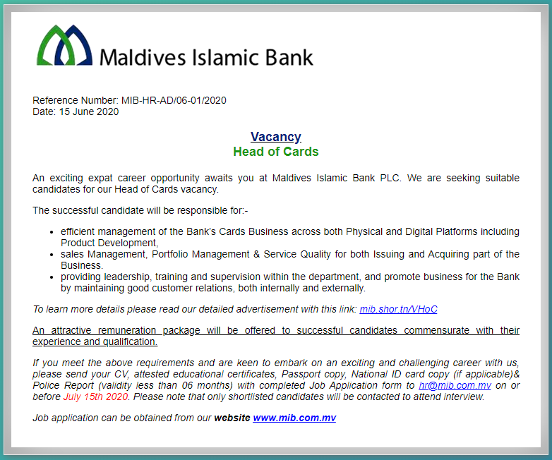 Maldives Islamic Bank Job Circular