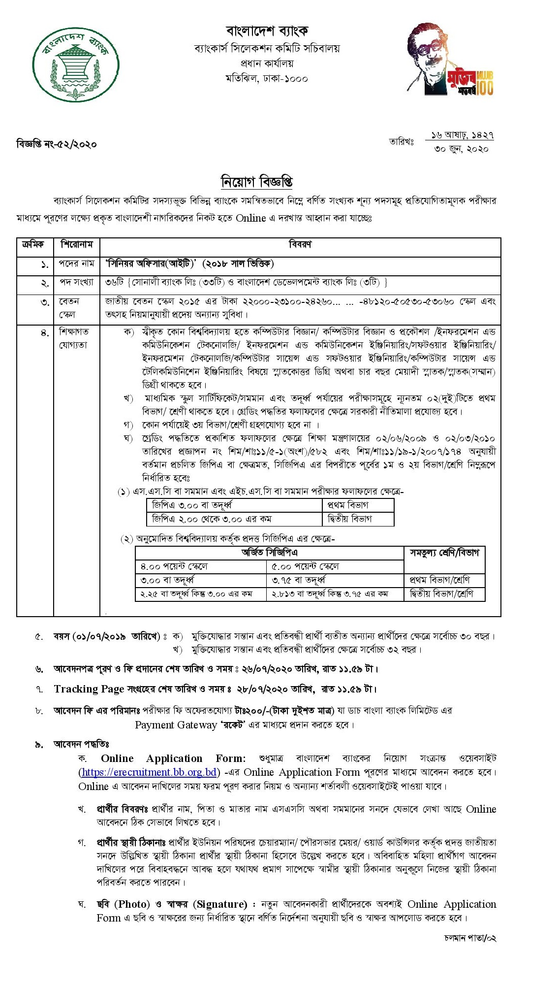 Sonali Bank Limited Job Circular 2020