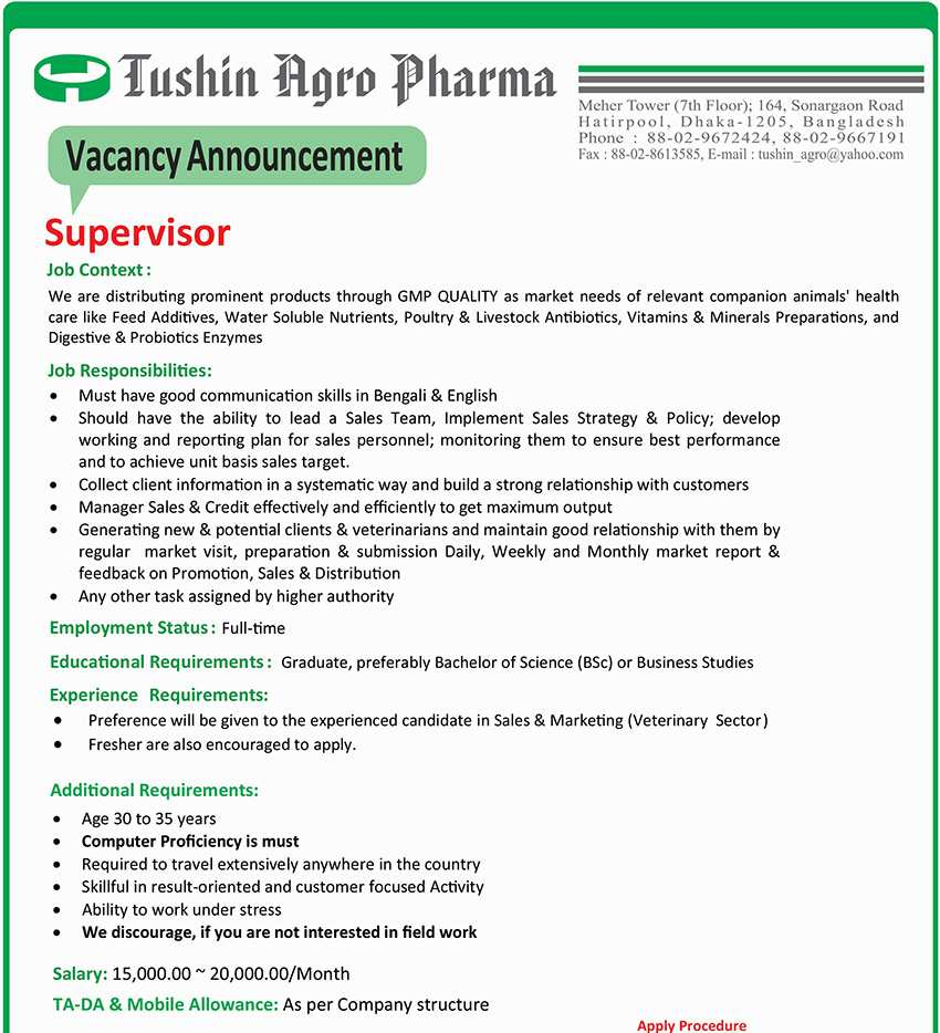 Tushin Agro Pharma Job Circular 2020